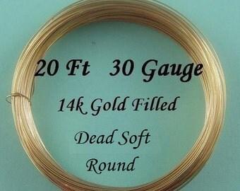 30g gauge ga g 14k Gold Filled Round Wire Dead Soft- 20 ft