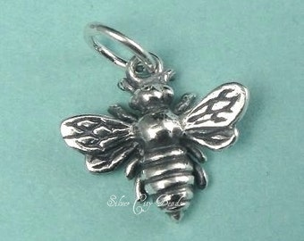 1 of Sterling Silver Bee, Honey Bee, Honeybee Charm -14X12MM