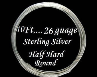 26 g gauge ga, 10 Ft, 925 Sterling Silver  Round Wire,- Half Hard