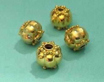 Bali Vermeil Beads, 2 Pcs- Bali 24k Vermeil Star Beads- 6x7.5 mm,hole 1.5mm