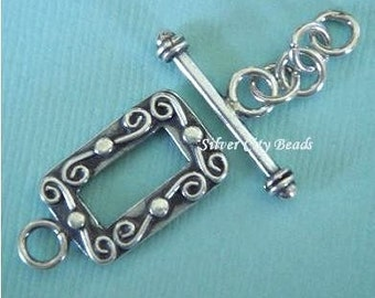 Bali Sterling Silver Ornate Square Toggle - 12mm(outside), 9mm(inside)