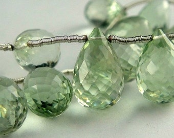 Green Amethyst Faceted Teardrop Briolette- 1 MATCHING PAIR-  2 Pcs- AAA 9x6mm