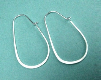 Sterling Silver Oval Flattened Earring Hoops, Hammered 16x30mm 21ga , 1 pair