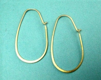 4 pairs- Vermeil Oval Flattened Earring Hoops, Sterling Silver Hammered 16x30mm 21ga ,