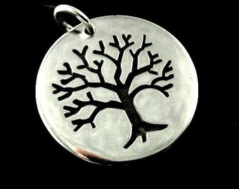 Sterling Silver Tree of LIfe Large Etched Charm-20mm