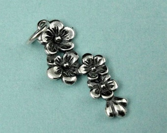 Sterling Silver Cherry Blossom Cluster Charm 25x8mm, 2 pcs