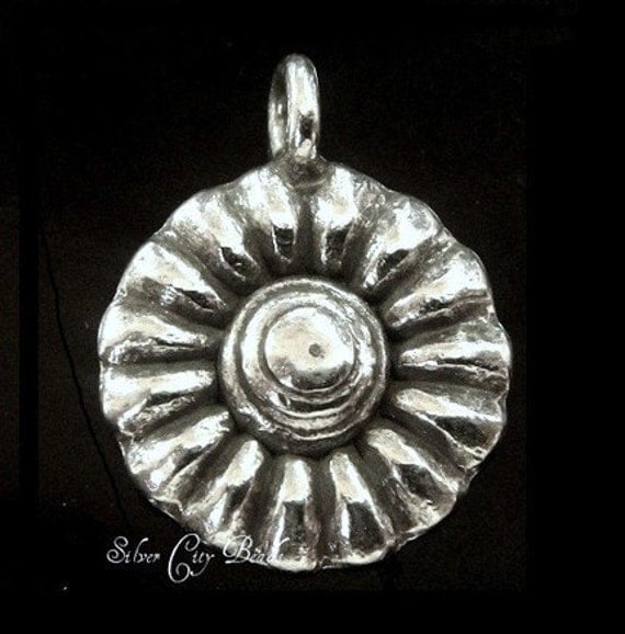 Karen Hill Tribe Silver Sunflower Charm -  13x17mm