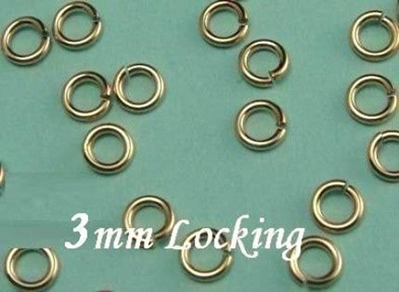 50 Pcs 22 gauge ga g, 3mm-14k Gold Filled Locking Jump Ring, aka jump locks,