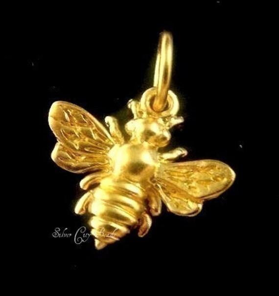 24k Vermeil Honey Bee Charm,  14 x 12mm