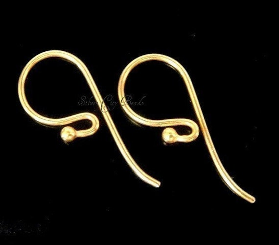 Bali Vermeil Ear Wire Earwire,  20 Pcs BULK Bali 24k Vermeil  Earwire with Ball- 21x10mm