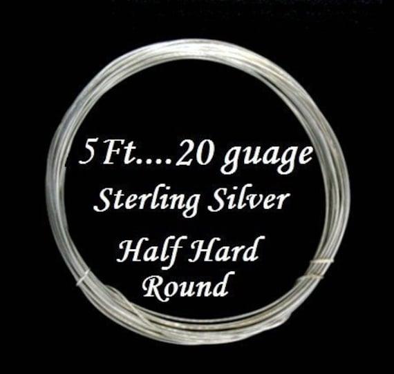 5 Feet - 20g Half Hard Sterling Silver Wire, Round