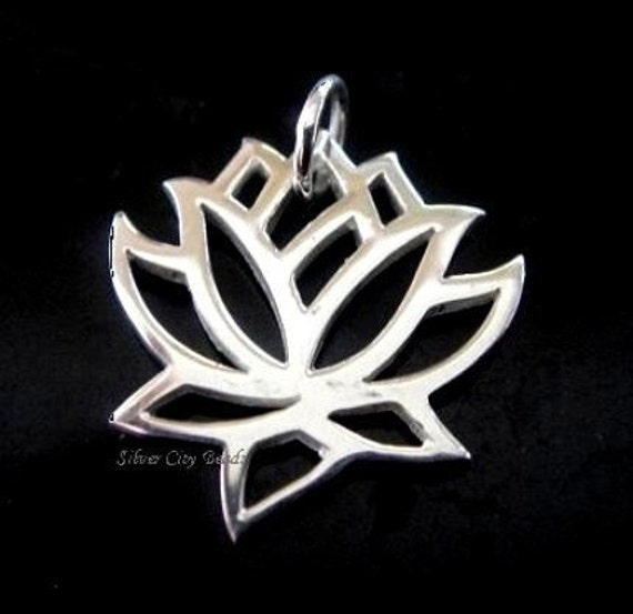 Silver Lotus Charm 925 Sterling Silver 19 x 15mm, Wholesale - 1 pc