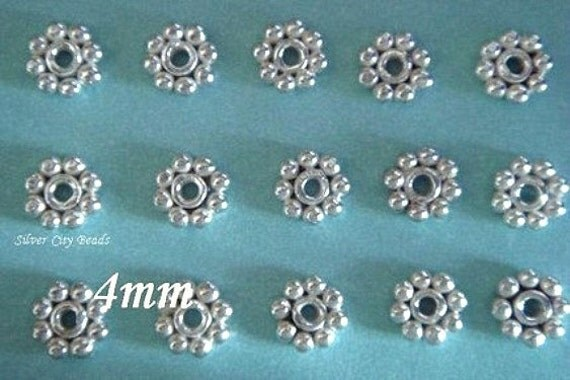 77 pcs. RESERVED...Silver Daisy Spacer Bali Sterling Silver Bright Daisy Spacers,  4mm