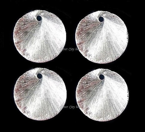 Brushed Silver Links Discs Disks, 4 Pcs Brushed Round Links- 13mm