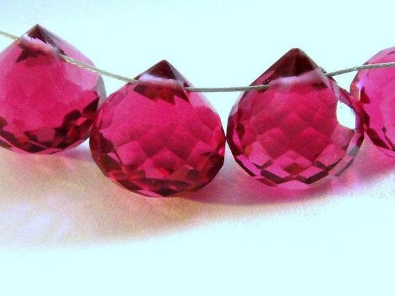 Pink Quartz Onion Briolettes AAA Gorgeous, 1 FOCALS, Size 10-11mm