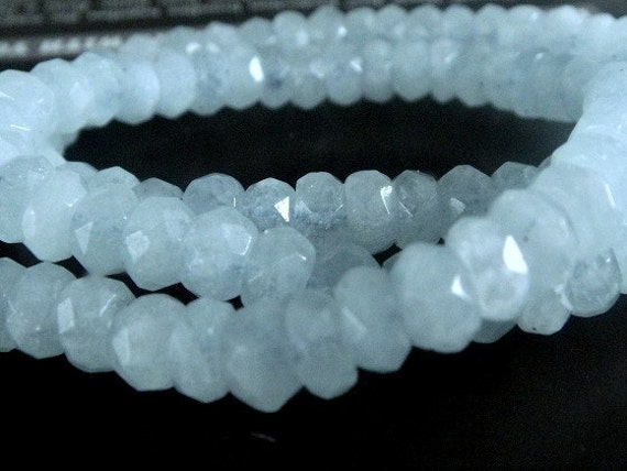 Aquamarine Faceted Rondelle Gemstone Beads LUXE AAA  7x4mm,  approx, 4 inch strand