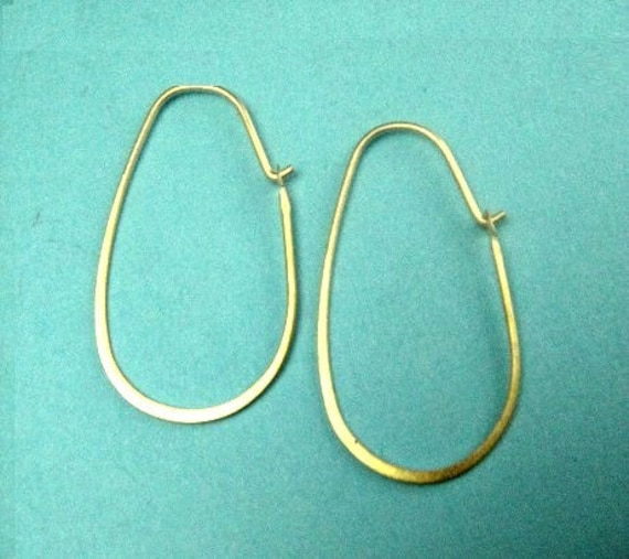 Vermeil Oval Flattened Earring Hoops, Sterling Silver Hammered 16x30mm 21ga , 1 pair