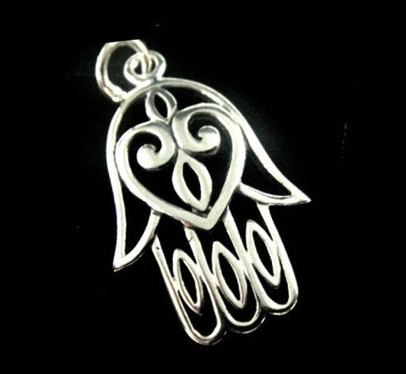 Reserved...4 pcs Sterling Silver Hamsa Hand and Heart , Large Thai Pendant-23x14mm