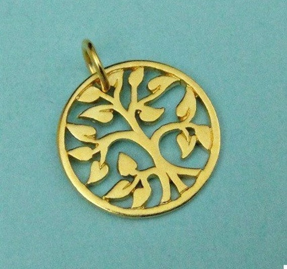 24k Vermeil Small Tree of Life Charm-15mm