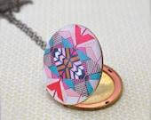 Vintage Locket Geometric Pattern Kaleidoscope Alyson Fox Original Art Illustration Turquoise Pink Jewelry Necklace Photograph Custom