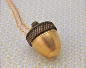 Locket Necklace Acorn Locket Ashes Holder Necklace Mourning Jewelry Acorn Necklace Gift Brass Gold Cremation Jewelry