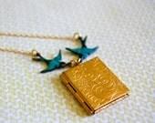 Book Locket and Birds - VINTAGE