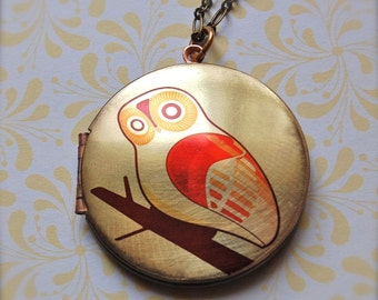 Vintage Art  Locket Owl on Branch