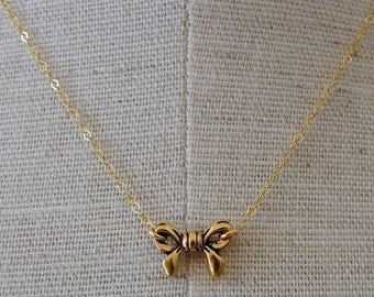 Tiny Gold Bow Necklace