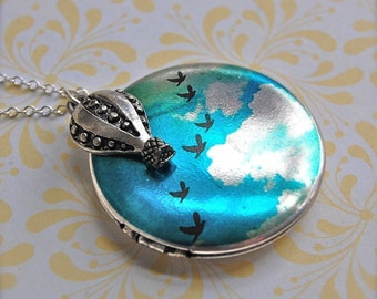 Hot Air Balloon Locket Blue Sky Birds Flying Art Lockets Jewelry Necklace Vintage Sterling Silver