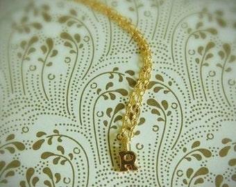 Tiny Letter Initial Monogram Charm Custom Gold