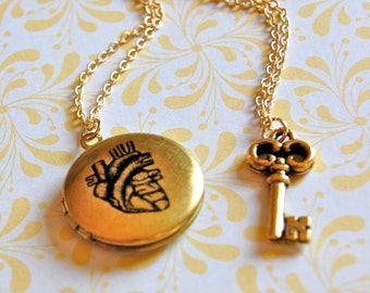 Anatomically Correct Heart Vintage Art Locket and Gold Key Charm Necklace Set of Two Necklaces
