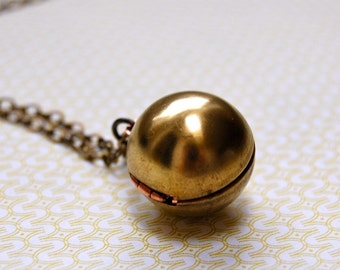 Ball Orb Locket Necklace Vintage Brass