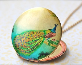 The Peacock on a Branch Art Locket - Vintage