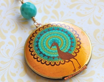 Peacock Locket Bohemian - Vintage