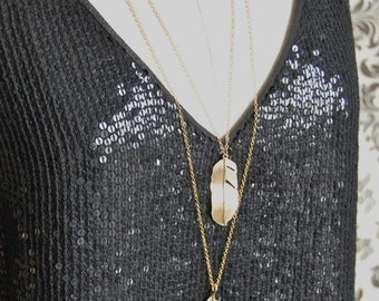 Feathers Layered Long Necklace Statement Piece Gold Feathers Silver Feathers Jewelry