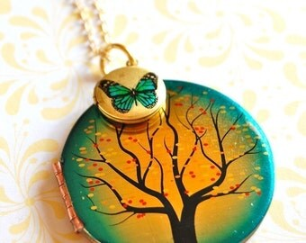 Vintage Locket Necklace Tree and Butterfly Locket Duo Tiny Locket Paired with Larger Locket Green Blue Sunset Fall Jewelry Gift