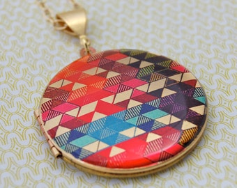 "Vintage Locket Necklace Alyson Fox Original Artwork ""Color Study II"" Geometric Design Red Turquoise Purple Gold Brass"