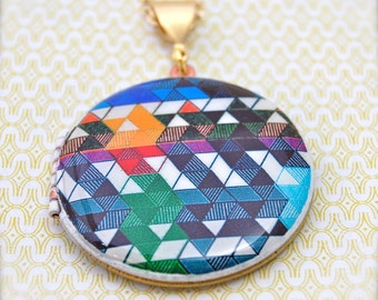 Vintage Locket Geometric Pattern Color Study Original Art Alyson Fox Necklace Antique Lockets Custom Jewelry Gifts for Her Photograph