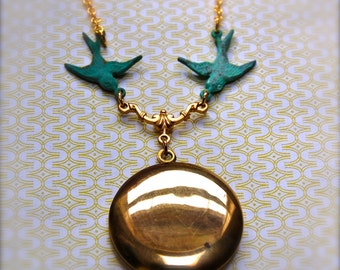Vintage Locket and Turquoise Teal Birds Necklace Brass