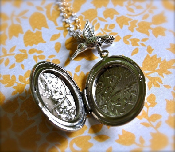 Vintage Style Silver Locket and Hummingbird Necklace