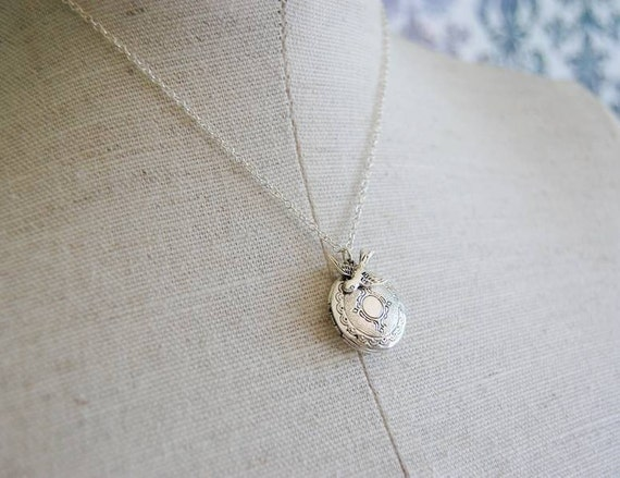 Antique Silver Locket and Bird Necklace