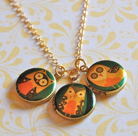The Owl Family Tiny Locket Trio - Vintage