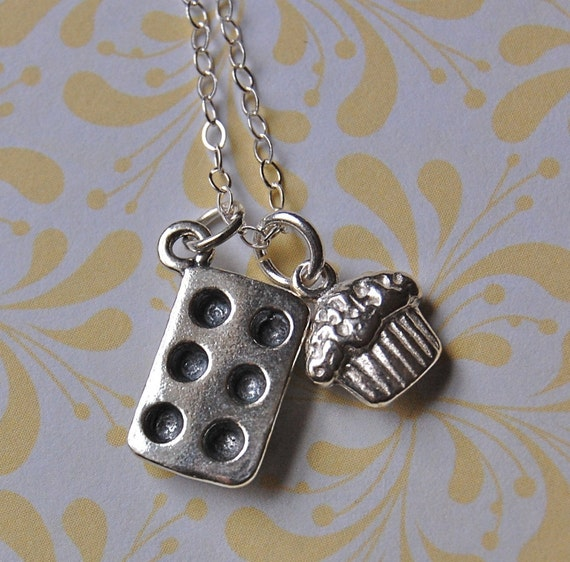 The Bakery Necklace - Cupcake and Baking Pan - Sterling Silver