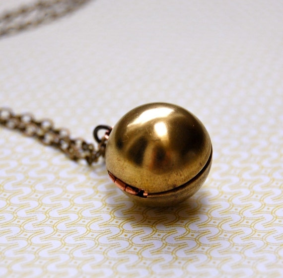 Ball Orb Locket Necklace Vintage Brass