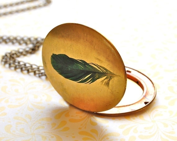 Large Locket Jewelry Necklace Feather Feathers Necklaces Long Layering Piece Vintage Locket Unique Gifts for Her Wedding Bridesmaids Gifts