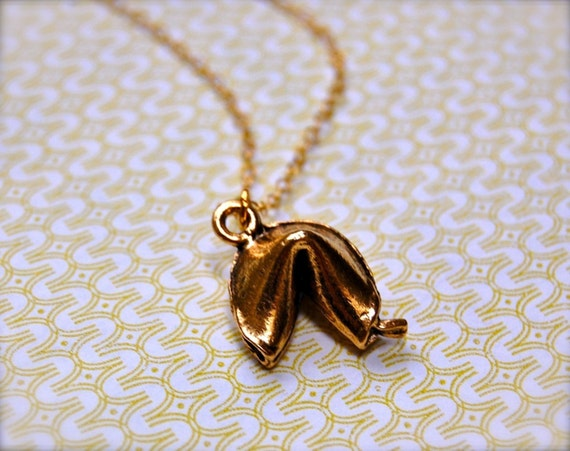 Fortune Cookie Good Luck Charm Necklace Lucky Charms Gold Fortune Cookie Small Charm 14k Gold Chain Necklace Bridesmaids Gifts for Her