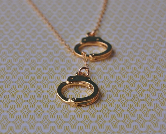 Handcuffs Lariat Necklace - Gold Vermeil