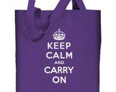 Keep Calm and Carry On Re-useable Cotton Canvas Tote Bag (PURPLE)