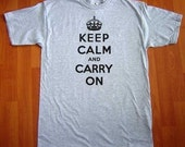 Keep Calm And Carry On MENS T-Shirt (Heather Grey- Black Ink) S, M, L, XL, XXL