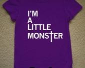 I'm A Little Monster WOMENS T-Shirt lady gaga (Purple- White Ink) S, M, L, XL American Apparel